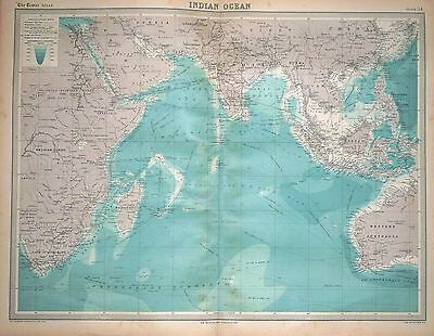 1920 LARGE MAP ~ INDIAN OCEAN ~ 23