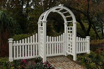 New England Arbors Decorative Nantucket Deluxe Garden Patio Arch w/ GATE + FENCE