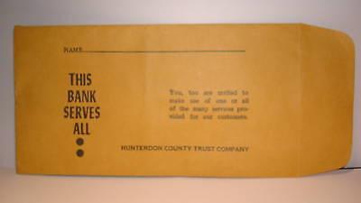 Collectible Bank Hunterdon County Trust Co Pay Envelope Califon-Oldwick etc(1)NJ