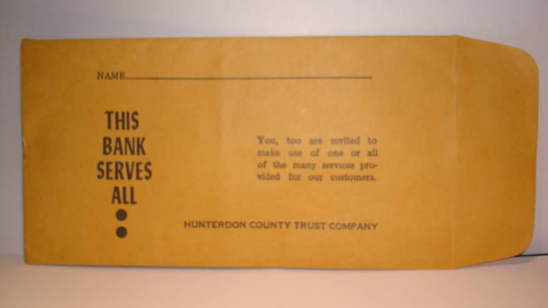 Collectible Bank Hunterdon County Trust Co Pay Envelope Califon-Oldwick etc(3)NJ