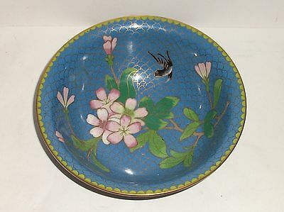 CHINESE FLORAL BIRD CLOISONNE LIGHT BLUE ENAMEL BOWL