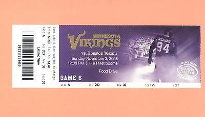 Houston Texans at Minnesota Vikings 11-2-2008 NFL ticket stub Pat Williams photo