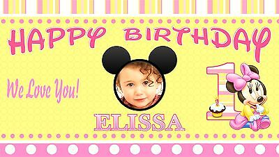 Baby Minnie Mouse Birthday Banner Personalized 1Year Old 1st Birthday Party - Minnie Mouse Personalized Birthday Banner