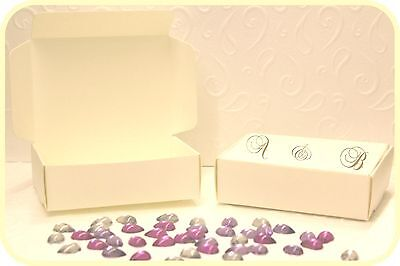 Personalized 50 Party Wedding Cake Favour Boxes 90mm x 65mm x 28mm Ivory Cream - Personalized Cake Boxes