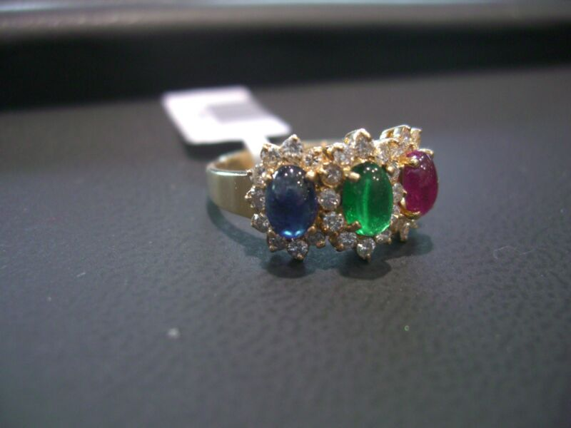 18k Yellow Gold Diamond /sapphire/ Ruby/ Emerald Ring New! Wow!!!