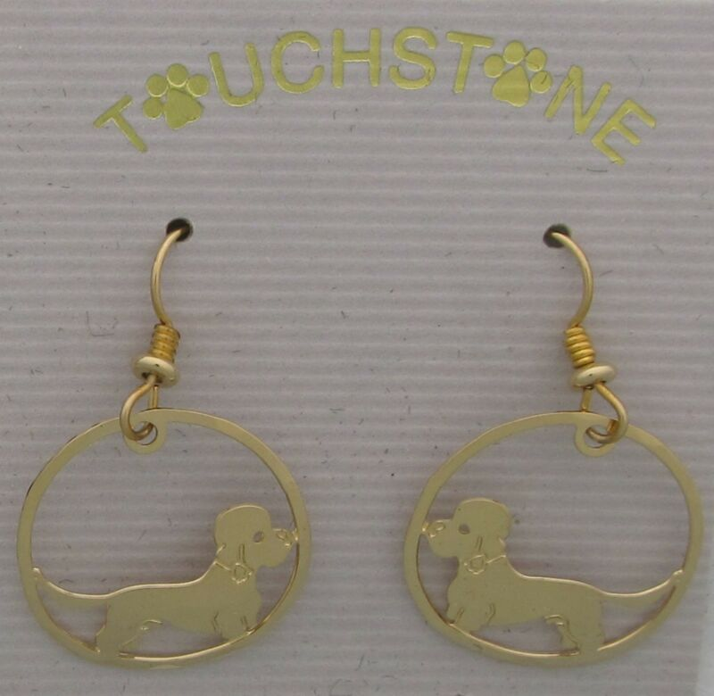 Dandie Dinmont Terrier Jewelry Gold Dangle Earrings by Touchstone