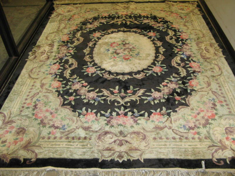 Vintage Chinese Aubusson Rug Hand Knotted Silk 8