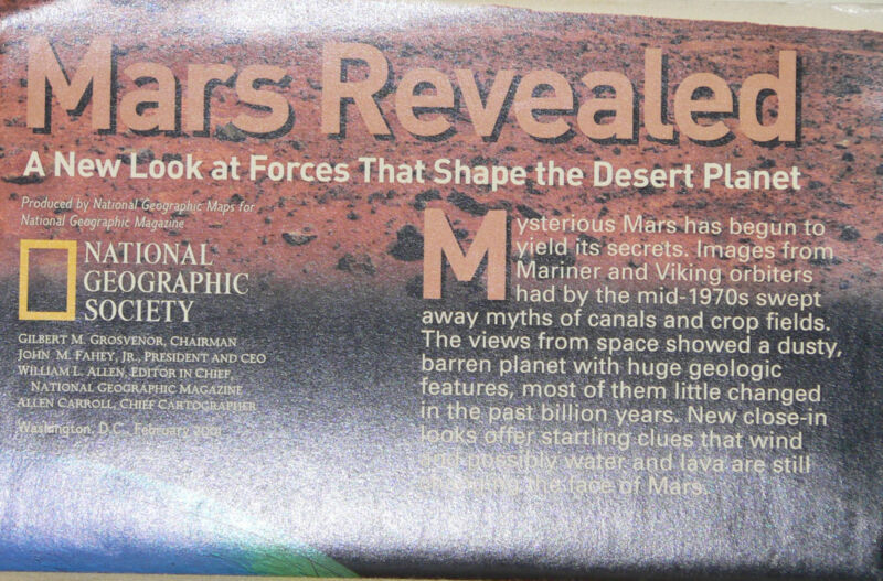 2001 National Geographic Poster: Mars Revealed