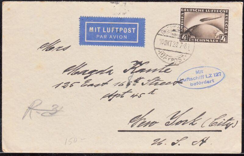 ZEPPELIN LZ127 FLIGHT COVER GERMANY TO USA OCT.16,1928 BQ4894