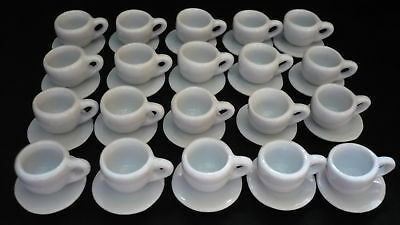 40 White Coffee Cup and Saucer Dollhouse Miniatures Ceramic Supply