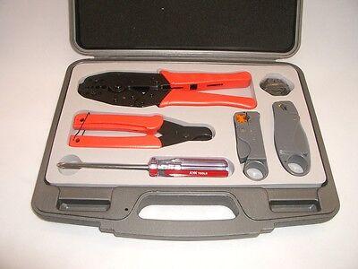 Lands Dl801gk Coax Coaxial Cable Crimp Crimper Termination Ratchet Tool Set Kit