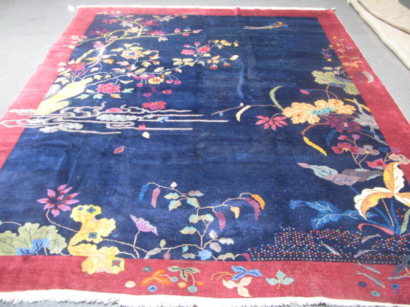 Antique Blue Art Deco Chinese Rug  8