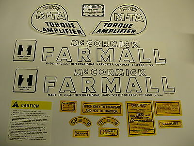 International Ihc Farmall Super Mta Gas Tractor Decal Set - New Free Shipping