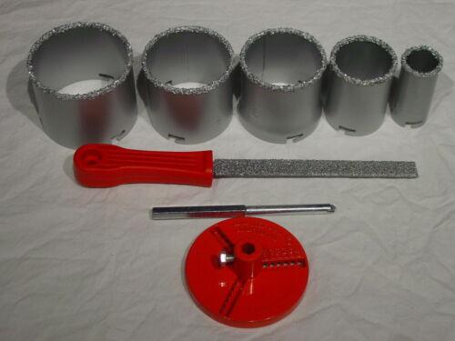 C2 Carbide Grit Hole Saw Drill Bit File Kit Set Ceramic Tile Masonary Fiberglass