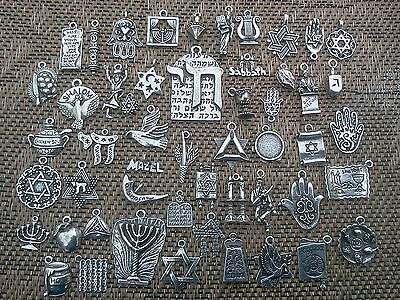 ISRAEL RELIGION 24 ASSORTED JEWISH PEWTER CHARMS - PENDANTS ALL NEW.