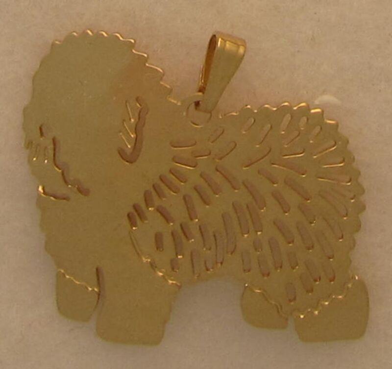 Old English Sheepdog Jewelry Gold  Pendant Touchstone