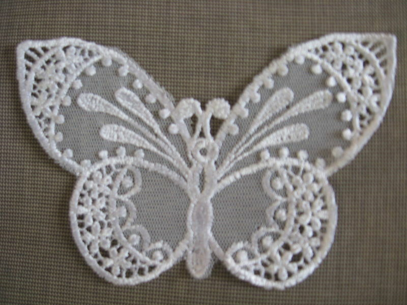 8 PCS LOVELY WHITE BUTTERFLY RAYON VENISE NET APPLIQUE