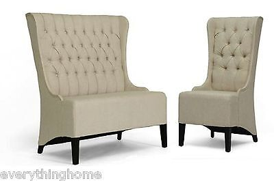 (BANQUETTE BEIGE DINING BENCH BOOTH LOVE SEAT / CHAIR VICTORIAN LINEN BUTTON TUFT)