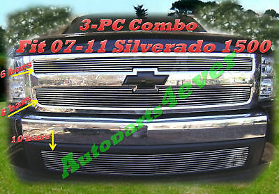 Billet Grille 2PC for 07-13 2007 2008 2009 2010 2012 2013 Chevy Silverado 1500