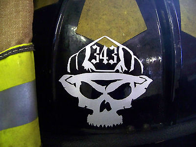 """3"""" Firefighter Skull Decal <<<REFLECTIVE>>> Get 343 or Customize Your Numbers"""