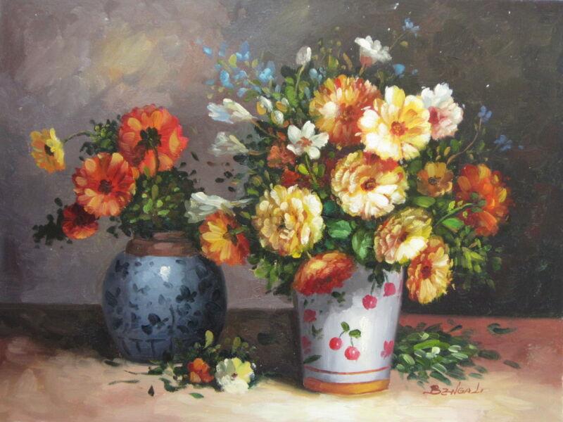 "Farnborough Florals Original Hand Painted 12""x16"" Oil Painting Canvas Art"