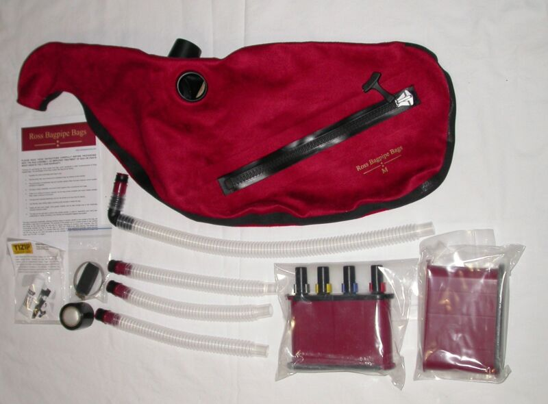 Ross Red Suede Zipper Pipe Bag for Bagpipes with Canister System various sizes
