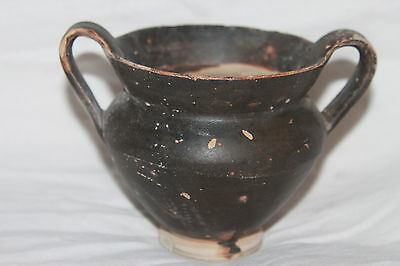 GOOD ANCIENT GREEK HELLENISTIC  POTTERY KANTHAROS 3rd CENT BC