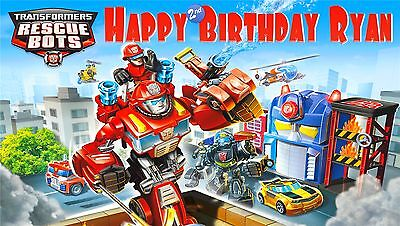 Transformers Birthday Banner (Transformer Rescue Bots Birthday Banner Personalized Custom Design)
