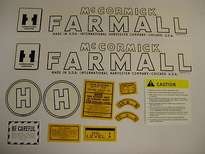 Ihc International Farmall Model H Tractor Decal Set - New Free Shipping