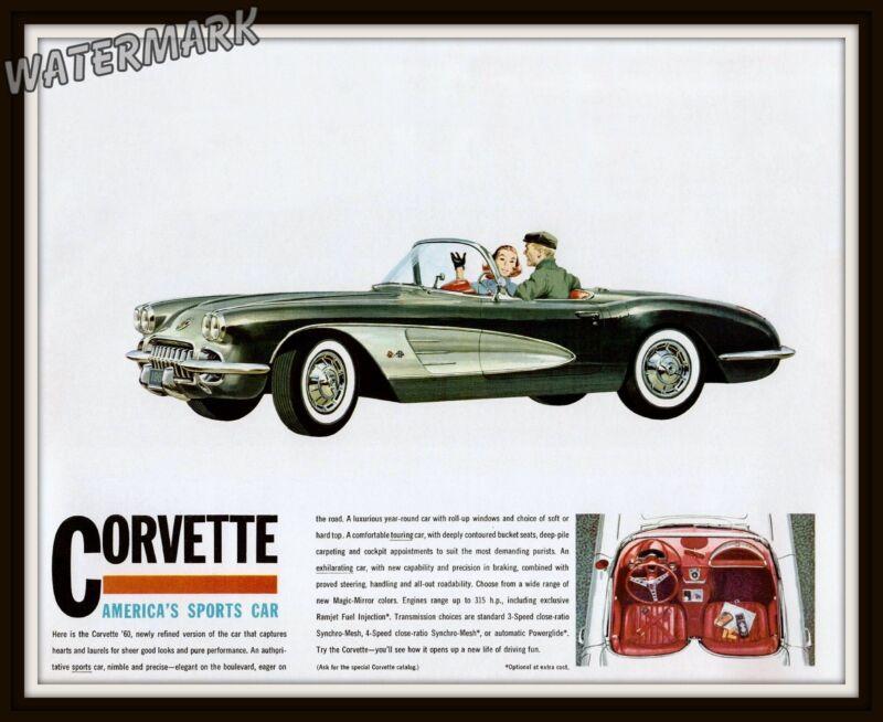 Wall Art / Photograph 1960 Chevrolet Corvette Advertisement   8x10