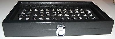 Black 72 Slot Ring Glass Top Jewelry Display Showcase Wmetal Hinge Latch
