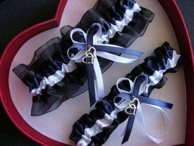 NEW Navy Blue White Black Wedding Garter SELECT Single,Set,Reg,Plus Size,Charm](Plus Size Wedding Garter)
