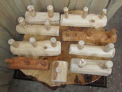 Rustic Pine Log Coat/Hat Rack Country Hanger peg holder hook gun towel wood rod