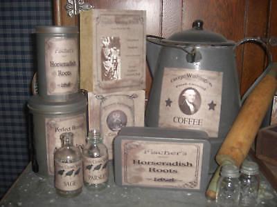 50 Primitive Farmhouse Pantry Jar Labels - Grab Bag