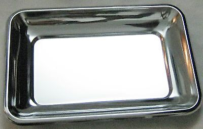 """Chrome Metal 7"""" X 9 3/4"""" Serving Tray - It is 1"""" Deep"""