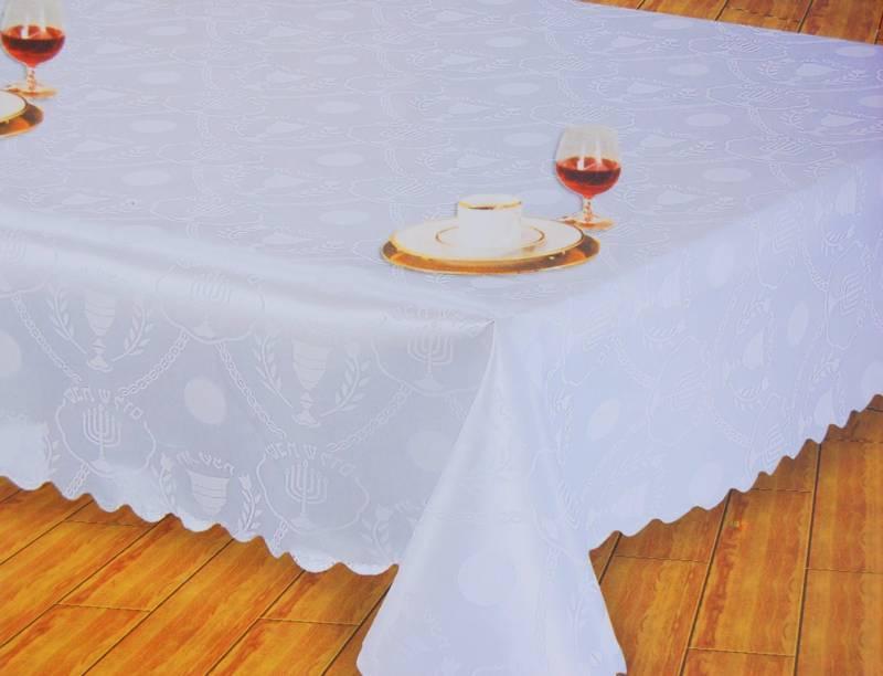 New White tablecloth for Shabbat&Yom Tov.Menorah israel Jewish Judaica 300X150cm