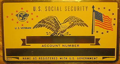 Metal Social Security Id Card Us Veteran Custom Engraved