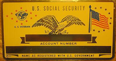 Metal Social Security ID Card US Veteran Custom (Us Engraving)