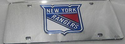 New York Rangers LASER License Plate Silver ship now New York Rangers-laser