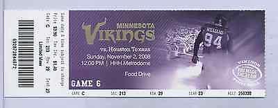 Minnesota Vikings Houston Texans Full Unused NFL Football Game Ticket 11/2/2008
