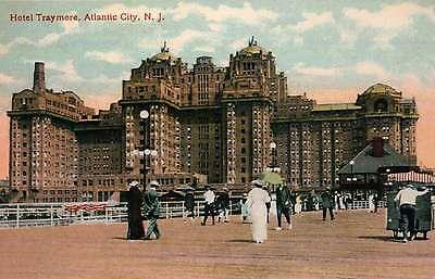 Hotel Traymore, Atlantic City, New Jersey, People on Boardwalk --- Postcard  Traymore Atlantic City New Jersey
