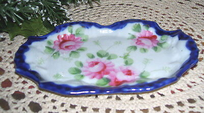 Beautiful Antique Vanity or Table Top Pink Roses Dish with Cobalt Blue Rim