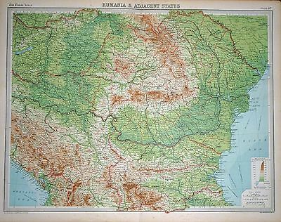 1920 LARGE MAP ~ RUMANIA & ADJACENT STATES ~ ROMANIA ~ 23