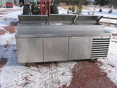 Randel 92x32 3-door Cooler W3-compartment Condiment Cooler Prep Area