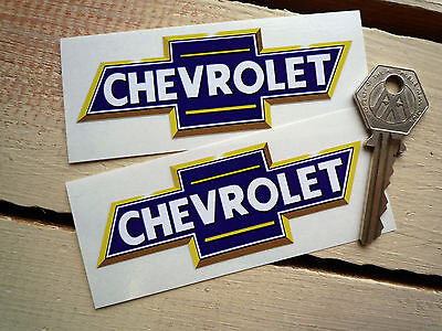 "CHEVROLET Blue & Yellow Bow Tie Car STICKERS 4"" Pair Classic Auto Decals Pick-Up"