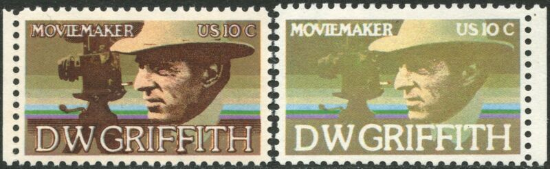 """#1555a Brown Engraved Omitted Major Error """"d.w. Griffith"""" Cv $500.00 Bn8334"""