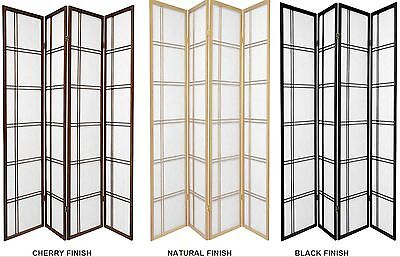 3 & 4 Panel Shoji Screen Room Divider in Black, Cherry, Natural, Espresso, White 3 Panel Black Room Divider