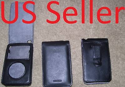 - NEW Black leather Case for apple ipod classic 160GB built in screen protector