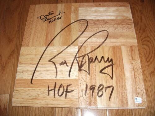 Rick Barry & Nate Thurmond Signed Basketball Floor Global GA