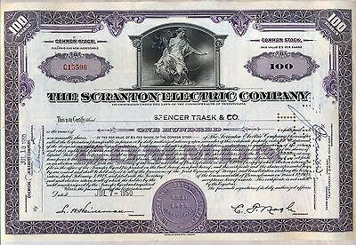 Scranton Electric Company Stock Certificate Pennsylvania Power